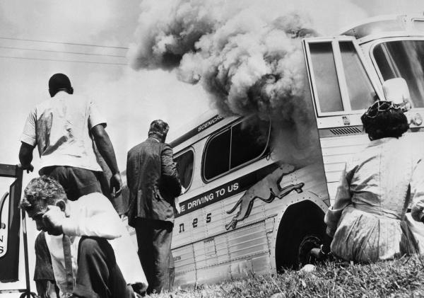 Freedom Riders Near Burning Bus